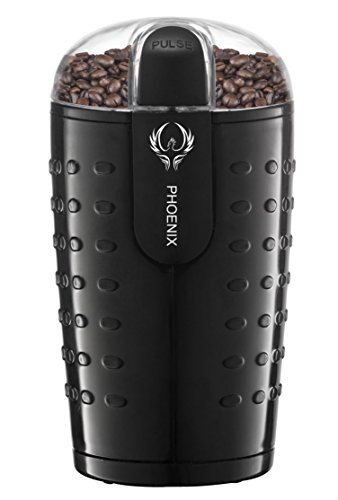 Phoenix Coffee Grinder with Brush , Oval Design with Stainless Steel B