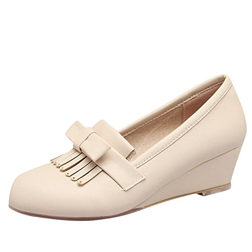 Charm Foot Mujeres Comfort Arcos Tassels Wedge Low Heel Loafers Zapatos Beige