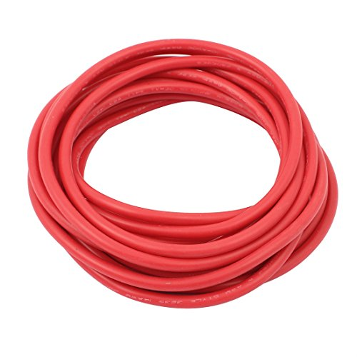 uxcell 5M Length 14AWG 30KV Red Flexible Stranded Copper Cable Silicone Wire for RC