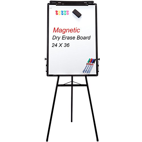 (Homde Tripod Whiteboard Magnetic Dry Erase Board Flipchart Easel 24'' X 36'' White Boards with Black Aluminum Frame, Height)