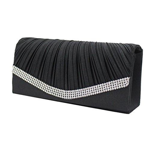 Siswong Bolso de Fiesta Mujer Señoras Satín Diamante Noche Bolsa 2018 Moda de Embrague Bolso Negro