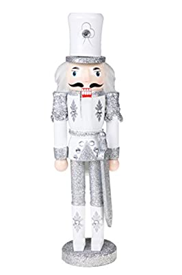 "Traditional Wooden Sparkling White and Silver Soldier Nutcracker with Sword by Clever Creations | Festive Christmas Decor | 12"" Tall Perfect for Shelves and Tables"