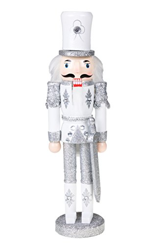 """Traditional Wooden Sparkling White and Silver Soldier Nutcracker with Sword by Clever Creations 
