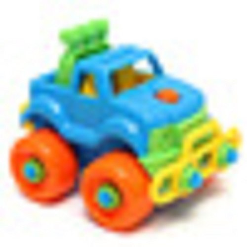 pickup-truck-puzzle-with-tools-screwdriver-and-wrench-plastic-brightly-colored-in-orange-yellowgreen