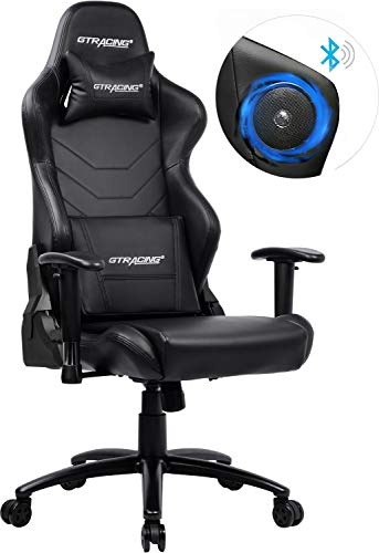 GTRACING Gaming Chair with Bluetooth Speakers Racing Office Computer Chair Ergonomic Backrest and Seat Height Adjustment Recliner Swivel Rocker with Headrest and Lumbar Pillow E-Sports Chair Black