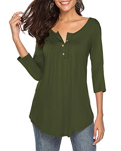 Womens Shirts Casual Tee V Neck 3/4 Sleeve Button up Loose Fits Tunic Tops Blouses ArmyGreen S ()