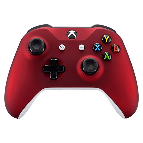 eXtremeRate Red Faceplate Cover, Soft Touch Front Housing Shell Case, Comfortable Soft Grip Replacement Kit for Microsoft Xbox One X & One S Controller (Soft Touch Replacement)
