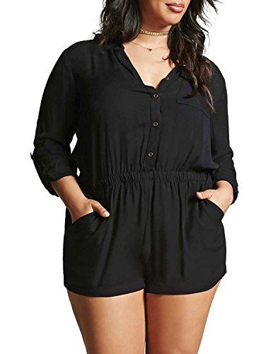 HaoDuoYi Womens Casual OL Plus Size Romper Short Jumpsuit(US22,Black)