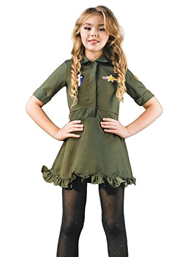 Kids Girls Air Pilot Flight Military Air Force Captain Outfit Costume & Dress Up (3-6 years, (Baseball Girl Halloween Costume)