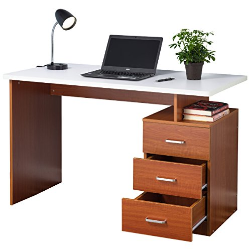 Fineboard Home Office Desk with 3 Drawers, Cherry/White