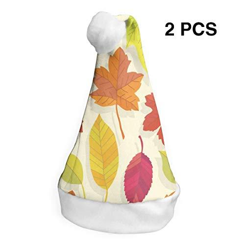 Christmas Hat Fallen Leaves Santa Headwear Xmas Cap Party Decorations 2 PCS ()