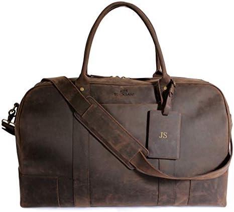 Monogrammed Bucksaw Travel Leather Duffel Bag For Men – Full Grain Premium Leather Weekender – Brown