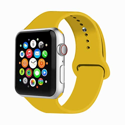 IYOU Sport Band Compatible with Watch Band 38MM 42MM 40MM 44MM, Soft Silicone Replacement Sport Strap Compatible with 2018 Watch Series 4/3/2/1 (Yellow,38MM, S/M) by IYOU