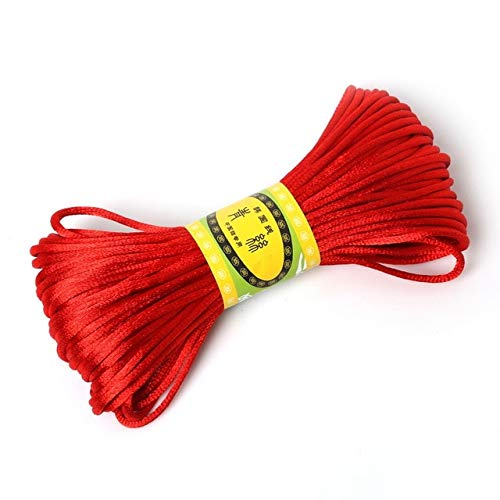 Fincos 2mm 20meter Soft Satin Rattail Silk Macrame Cord Nylon Kumihimo for DIY Chinese Knot Bracelet Necklace Jewelry Finding - (Color: red) ()