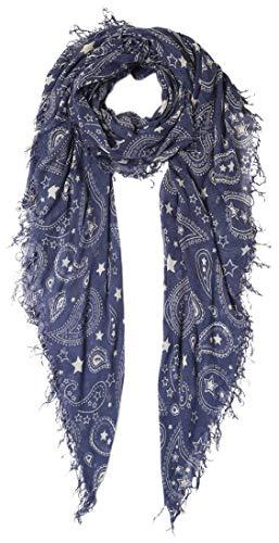Chan Luu Women's Paisley and Stars Print Silk And Cashmere Scarf (Blue Indigo) ()