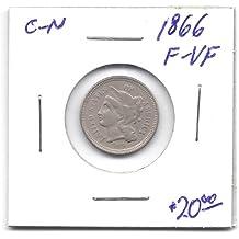 1866 Three-Cent F-VF Copper-Nickel Piece Coin