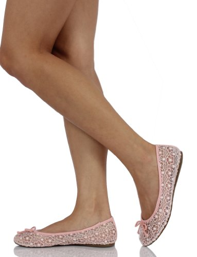 Soda Womens Tahira Bow Tie Lace Ballet Flat Slip-on t5OJNoZ
