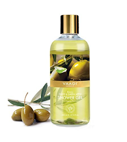 Shower Gel - Sulfate-Free - Herbal Body Wash both for Men and Women - 300 ml (10.14 fl oz) - Vaadi Herbals (Breezy Olive & Green Apple) (1 Bottle)