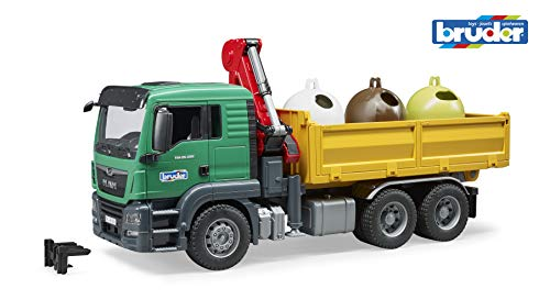 - Bruder Toys Man Tgs Truck with 3 Glass Recycling Containers and Bottles