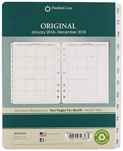 FRANKLIN COVEY FranklinCovey Original Dated Monthly Planner Refill, January-December, 5 1/2 x 8 1/2, 2018 (35399) (Franklin Covey Green)