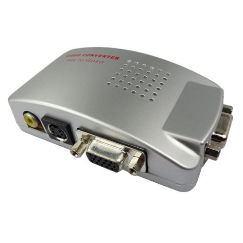 VGA to TV AV Composite RCA S-Video Convertor Box Adaptor for Computer Laptop PC MAC Monitor-Silver