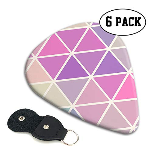 BLDBZQ Triangle Geometry Celluloid Guitar Picks Premium Picks 6 Pack for Guitar,Mandolin,and Bass 0.46mm, 0.71mm, 0.96mm Optional with PU Leather Pick Holder