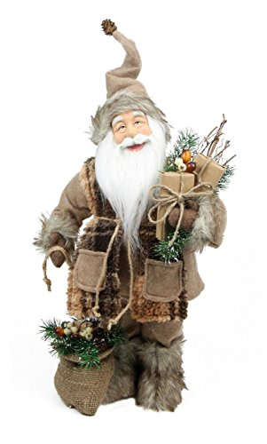 Northlight Rustic Lodge Standing Santa Claus in Camel Brown Checkered Scarf with Gifts Christmas Figure, 24