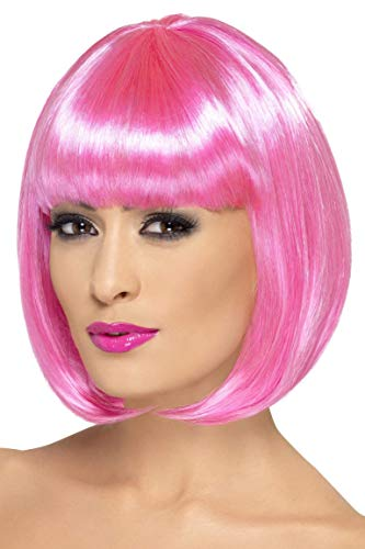 Smiffys Women's 12inch Short Pink Bob with Bangs, One size, Partyrama Wig, 5020570423929 ()