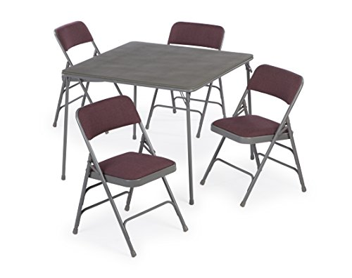 5pc. XL Series Folding Card Table and Triple Braced Fabric Padded Chair Set, Commercial Quality (Burgundy) by Folding Chairs and Tables
