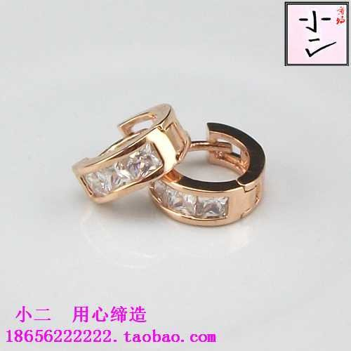 usongs Korea cute little ears ring zircon ear bone ear ring buckle fashion elegant women girls 14K rose gold earrings earrings