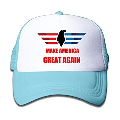 Kids Make America Great Again Adjustable Snapback Trucker Hat SkyBlue One Size