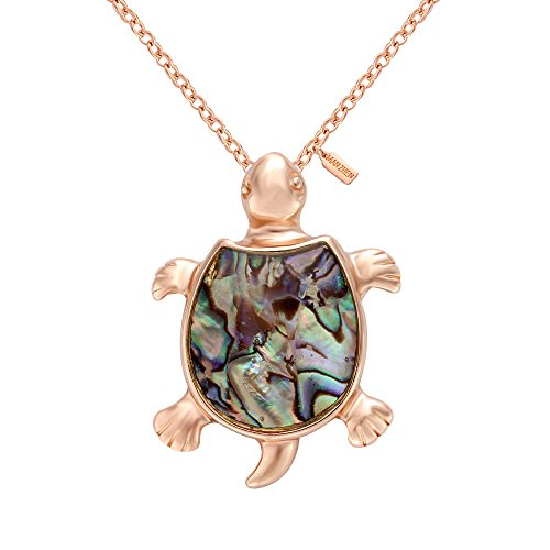 MANZHEN Fashion Retro Sea Turtle Tortoise Natural Abalone Shell Pendant Charming Necklace (Rose - For Tortoise Shell Sale