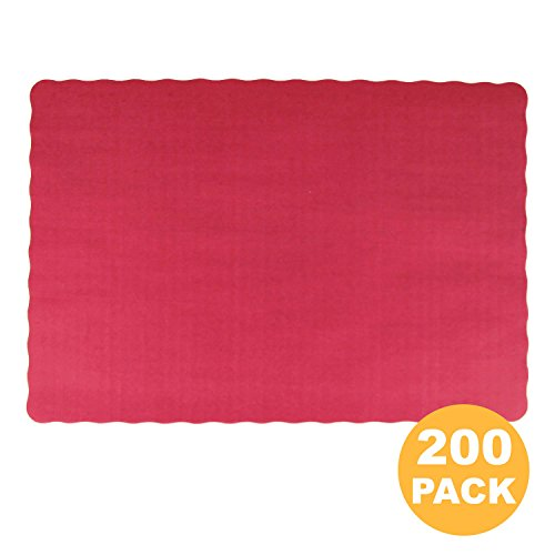 [200 Pack] Disposable 14 x 10 Plain Pink Red Burgundy Paper Placemat with Decorative Wavy Scalloped Edge