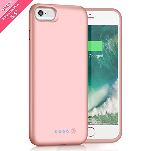 Battery Case for iPhone 6s Plus/ 6 Plus Upgraded 8500mAh Portable Rechargeable Charger Case for iPhone 6 Plus Extended Battery Pack for iPhone 6s Plus Protective Charging Case [ 5.5 inch ]-Rose Gold