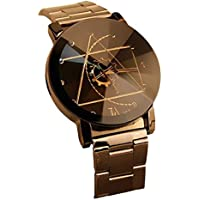 Creazy Fashion Watch Stainless Steel Man Quartz Analog Wrist Watch (Black)