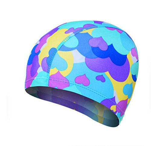 Ewandastore Solid Color Lycra Swim Caps for Long Hair Pleated Cloth Swimming Cap Bathing Hat for Adult Men and Women(Flower)