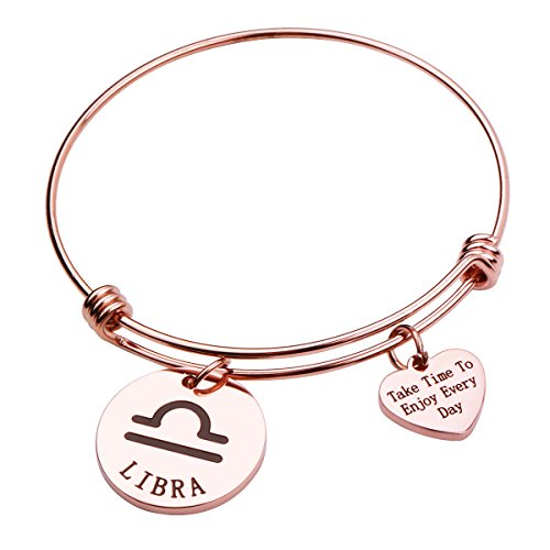 Rose Gold Zodiac Sign Bracelet Constellation Jewelry Gift for Her (Libra) by REEBOOO