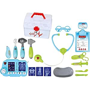 Doctors Toy Set For Kids TG663 - Fun Doctors Kit For Toddlers Boys & Girls with 18 pieces including X-Ray Machine - Pretend Medical Play Set By ThinkGizmos (Trademark Protected)