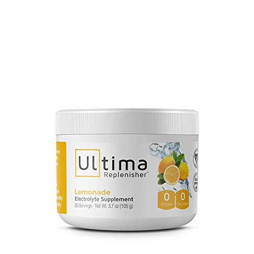 Ultima Replenisher Electrolyte Hydration Powder, Lemonade, 30 Serving Canister - Sugar Free, 0 Calories, 0 Carbs - Gluten-Free, Keto, Non-GMO with Magnesium, Potassium, Calcium ()