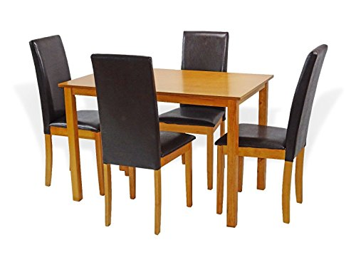 Height Maple Finish Dining Table (Dining Kitchen Set of 5 Rectangular Table And 4 Side Chairs Fallabella Solid Wooden in Maple Finish)