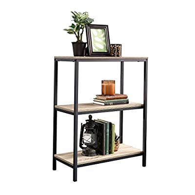 Sauder North Avenue Bookcase, Charter Oak finish - Open shelving for storage and display Finished on all sides for versatile placement Durable, Black metal frame - living-room-furniture, living-room, bookcases-bookshelves - 41T1Xzx8POL. SS400  -