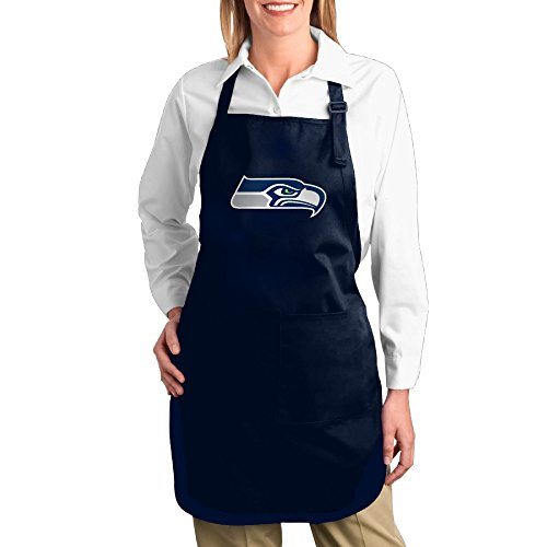 Kitchen Server Men Cotton Apron For Grilling Seattle Seahawks Twill Cotton Garden Easy Care Adults Cotton Apron Bibs Lovely -