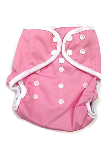 BB2 Baby One Size Solid Happy Leak-free Snaps Cloth Diaper Cover for Prefolds (One Size, Pink)