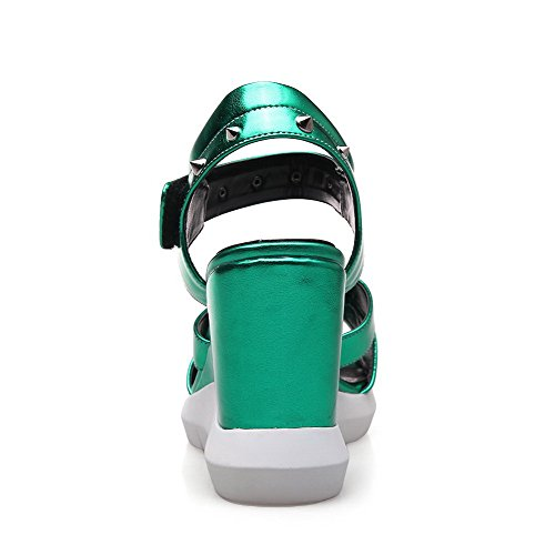 AgooLar Women's Patent Leather Hook-and-loop Open Toe High-Heels Solid Sandals Green capmP