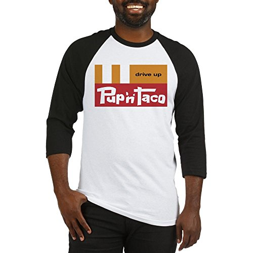 CafePress Pup 'N' Taco Canoga Park Cotton Baseball Jersey, 3/4 Raglan Sleeve Shirt Black/White