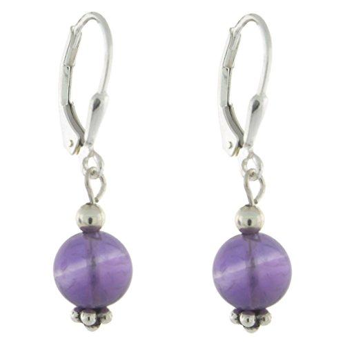 - Sterling Silver 8mm Gemstone Bead Lever Back Bottom Dot Flower Earrings, Amethyst
