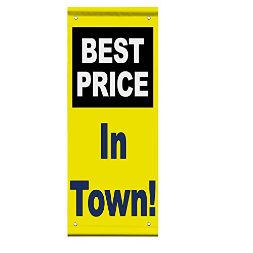 Best Price In Town! White Blue Yellow Background Double Sided Pole Banner Sign 18 in x 26 in w/ Wall Bracket by Fastasticdeals