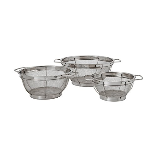Stainless Steel Large Colander - Farberware Stainless Steel Colander Sieves - Set of 3, Multi Sized
