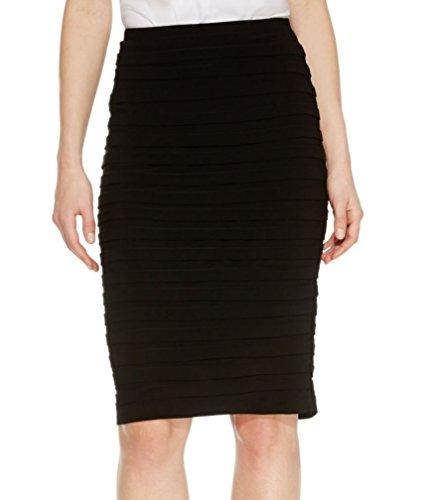 R&M Richards Womens Shutter Pleat Above The Knee Pencil Skirt Black (Shutter Wrap)