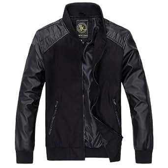 Mens Superhero Slim Faux Leather Pieced Bomber Jacket Trench Coat Outerwear Black,Medium